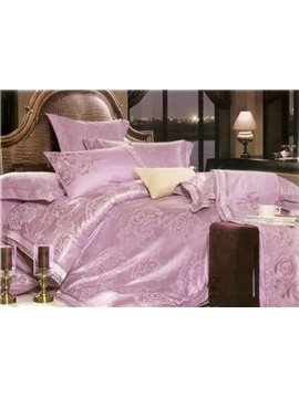 Exquisite 4 Piece Silk Floss Bedding Sets with Lilac Flowers