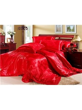 Red Jacquard Flowers 4 Piece Silk Floss Bedding Sets