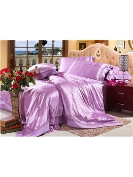Alluring 4 Piece Silk Floss Bedding Sets with Floral Jacquard