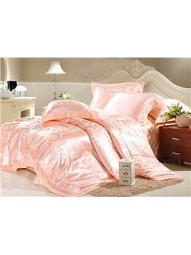 Luxurious 4 Piece Silk Floss Bedding Sets with Jacquard