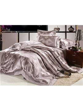 Gray 4 Piece Silk Floss Bedding Sets with Alluring Jacquard