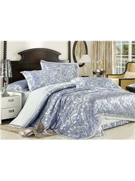 British Style 4 Piece Silk-like Bedding Sets with Decorative Pattern