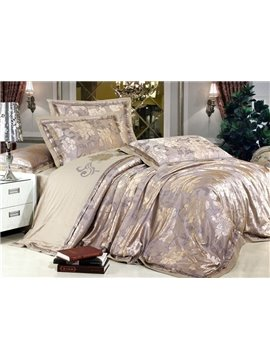 Exquisite Gray Peony 4 Piece Bedding Sets with Silk-like