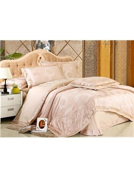 Courtlike Cream-coloured 4 Piece Sile-like Bedding Sets