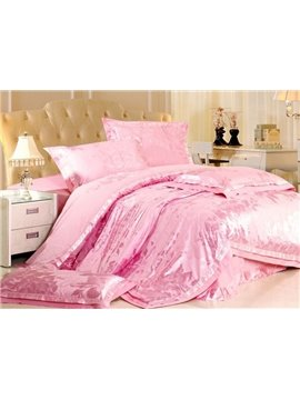 Magnificent 4 Piece Silk-like Bedding Sets with Pink Flowers