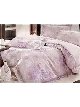 Seductive Beauty Purple Peony 4 Piece Bedding Sets with Silk-like