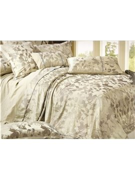 Slivery Grey 4 Piece Silk Bedding Sets with Lifelike Arabesque