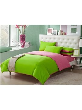 European Simple Style Subtle Two Sorts Color 100%Cotton Queen Size 220*240cm 4 Piece
