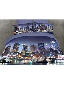 100%Cotton Reactive Printing City Design Modern 4 Piece Bedding Sets