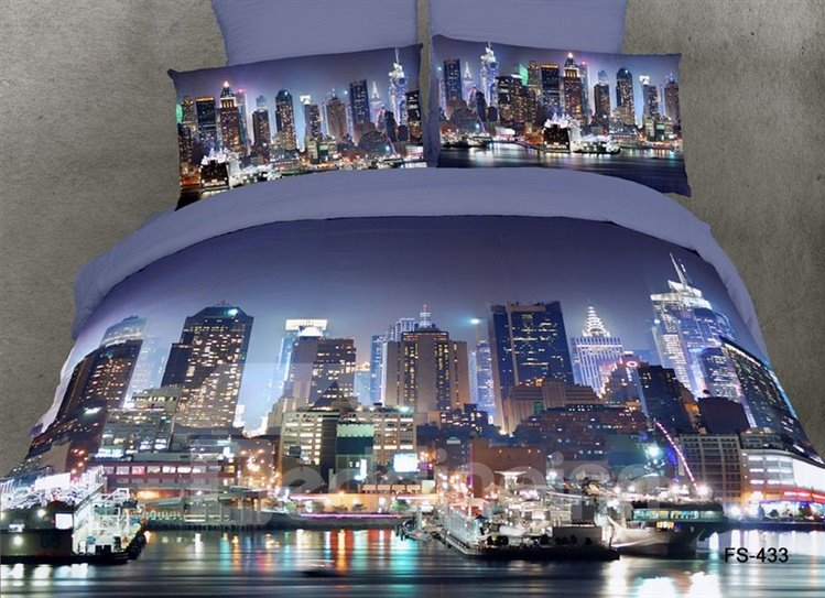 Cotton Reactive Printing City Design Modern 4 Piece Bedding Sets