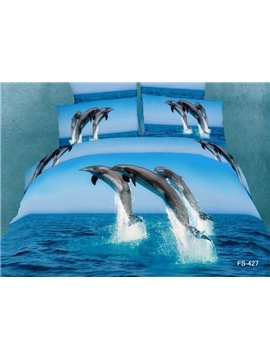 100%Cotton Reactive Printing 3D Dolphin Ocean 4 Piece Bedding Sets