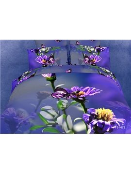 2013 New Arrival 100% Cotton 3D Full size Butterfly Bedding Set