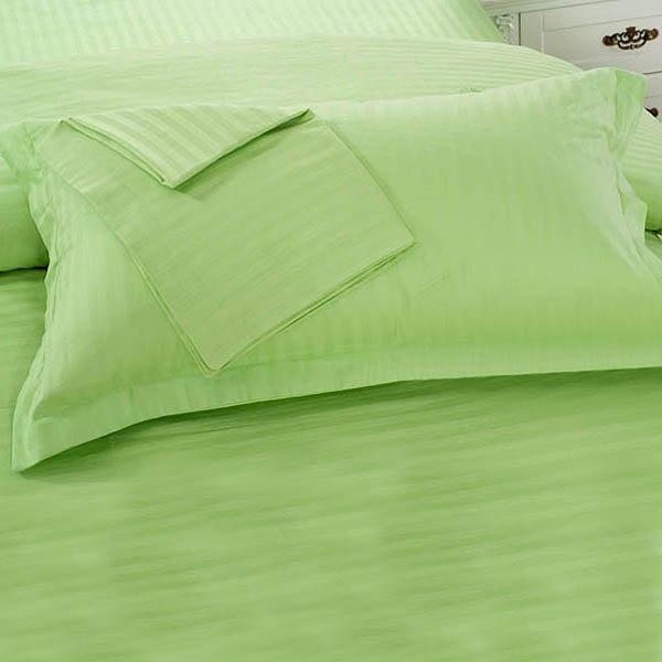 Green Cotton Sateen Solid Single Pillowcase