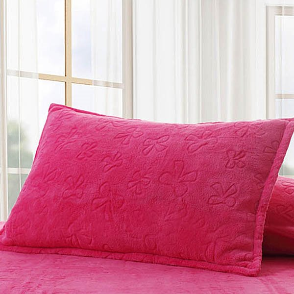 Coral Rosy Fleece Soft Solid Single Pillowcase One Pair