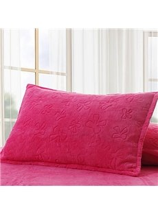 Coral Fleece Soft Solid Single Pillowcase One Pair(Rosy)