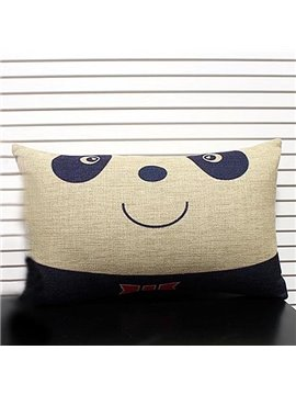 Cute Panda Linen Decorative Pillowcase with Filling