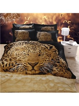100% Cotton Unique 3D Leopard Reactive Printing 4 Piece Bedding Sets