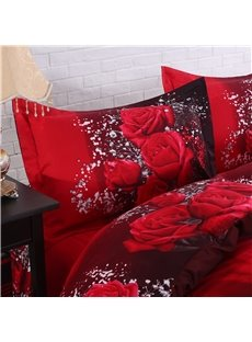 Luxury Red Rose 3D Printed 4-Piece Cotton Duvet Cover Sets