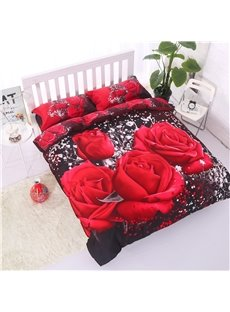 Luxury Big Red Rose Realistic 3D Printed 4 Piece Bedding Sets 10523742