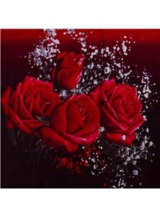 Luxury Big Red Rose Realistic 3D Printed 4 Piece Bedding Sets