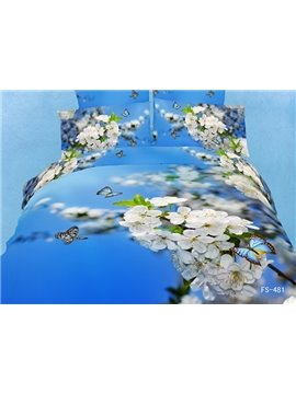 Splendid Pear Blossom Butterfly Blue 3D 4 Piece Bedding Sets