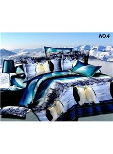 Antarctic Penguin Snow Scene 3D Print  4 Piece Polyester Bedding Sets
