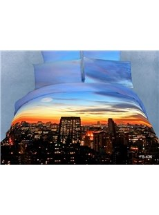 Blue Sky Sunset Falls Over City Scene Print 100% Cotton Duvet Cover Bedding Sets