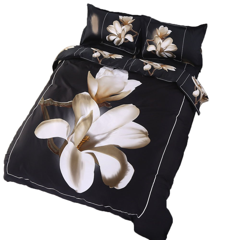 3D White Magnolia Flower Printed 4-Piece Cotton Duvet Cover Sets