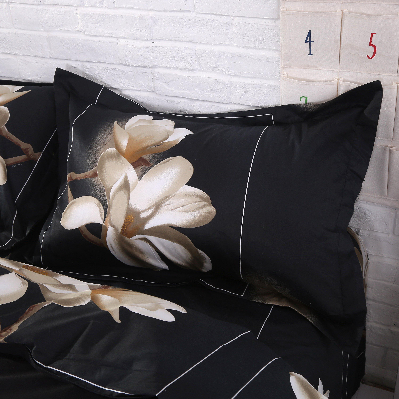 White Big Magnolia Flower 3D Print 4 Piece Duvet Cover Bedding Sets  (10528741)