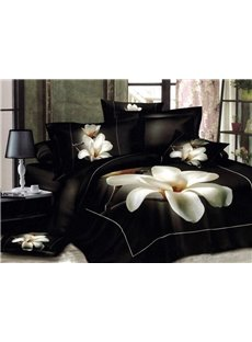 White Big Magnolia Flower 3D Print 4-Piece Duvet Cover Bedding Sets