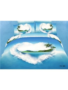 Blue Sea heart love 100% cotton Duvet 4 piece Bedding Sets