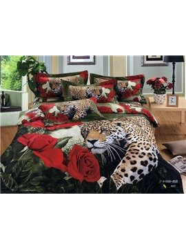 100% cotton luxury animal leopard roses printed duvet cover bedding sets