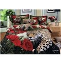 100% cotton luxury animal leopard roses printed duvet cover bedding sets (10529171)
