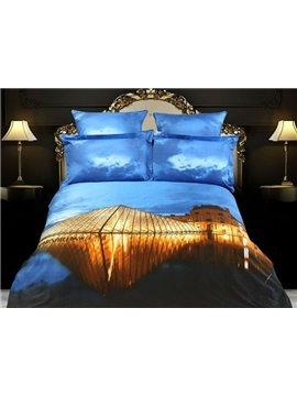 Blue sky Modern Buildings oil painting 4 Piece Bedding Sets