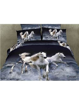 100% Cotton White Horse Gallop in water realistic 3D print 4 piece bedding sets