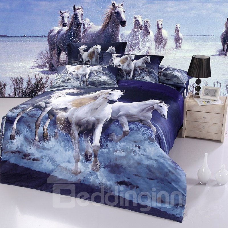 100 cotton white horse gallop in water realistic 3d print