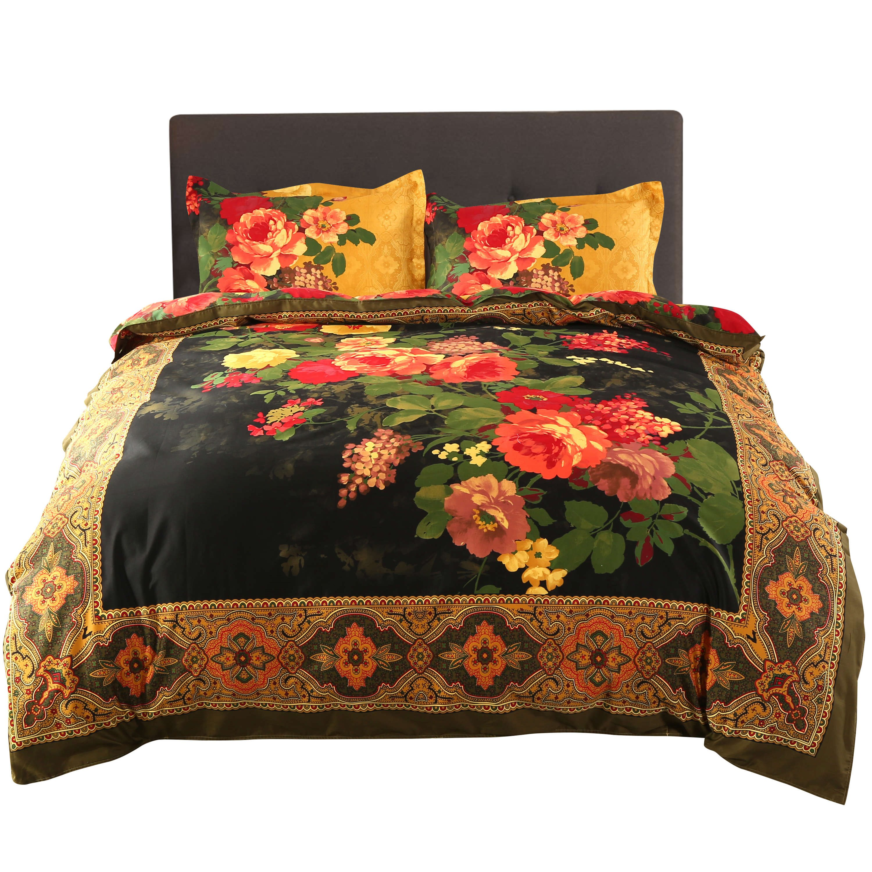 Luxury Retro Peony Oil Painting Print 4-Piece Cotton Duvet Cover Sets