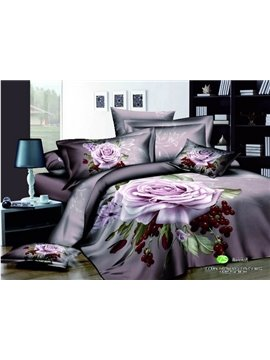 Fast shipping Beautiful purple big rose 3D print 4 piece duvet cover Bedding sets (10532457)