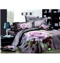 Fast shipping Beautiful purple big rose 3D print 4 piece duvet cover Bedding sets (10532457)