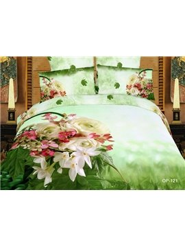 100% cotton fantastic flower 3D Oil printed green 4 piece Bedding sets