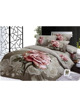 Elegant color pink rose reactive print 100% cotton 4 piece bedding sets (10532459)