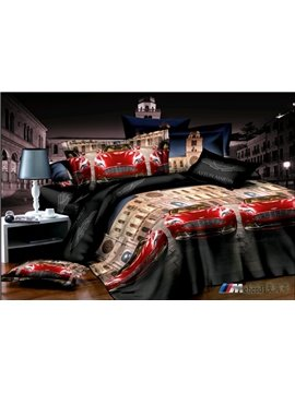Cool red race car print  4 piece duvet cover Bedding sets