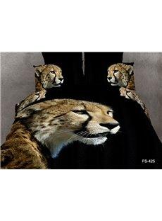 Strong and vigorous Cheetah Print  4 Piece Duvet Cover Sets