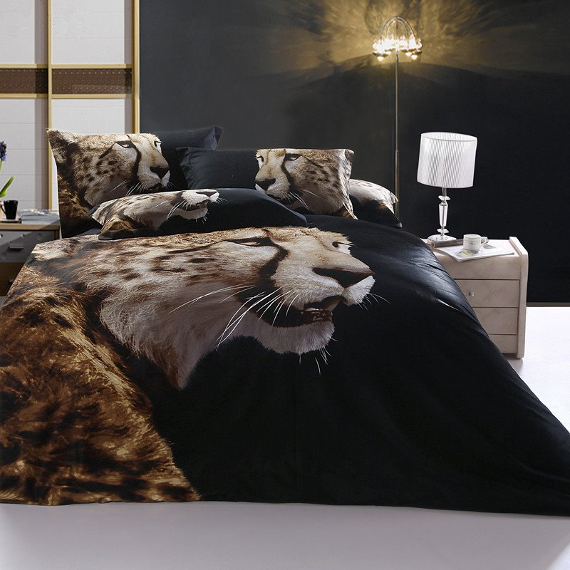 Strong and vigorous Cheetah Print 4 Piece Duvet Cover Sets