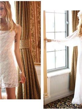 Elegant Ruffles White Chiffon Straps 2 piece Homewear Lingerie Loungewear