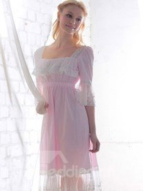 Sweet Princess Style lace Edge Pink and Beige Pajama with Sleeves Loungewear
