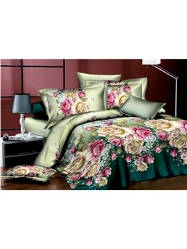 Big Colorful Peony Flower Print 4 Piece Bedding Sets