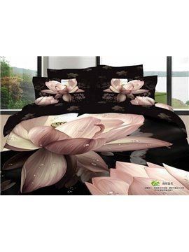 Gorgeous Big 3D Lotus Print  Realistic 4 Piece Bedding Sets