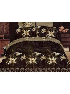 Antique Flower Print Black 3D Duvet Cover Bedding Sets