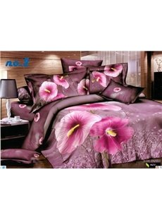 Morning Glory Big Flowers Print Purple 4 Piece Bedding Sets